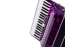 Part red musical instrument accordion, white background Royalty Free Stock Photo