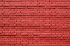 Part of red painted brick wall. Horizontal part of red painted brick wall Stock Images