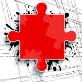 Part of a red puzzle on a white background with strokes of paint Stock Photo