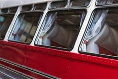 Part of red retro bus. Stock Photo