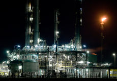 Part of refinery complex. Night Royalty Free Stock Photos