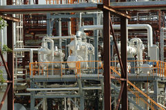 Part of the refinery installation at the factory. 2006 july Part of the refinery installation at the factory Komi Republic Russia Royalty Free Stock Photography