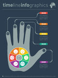 Part of the report with human hand and icons set. Business conce Royalty Free Stock Images