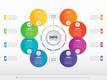 Part of the report with icons set. Vector infographic of technol. Ogy or education process. Web Template of a circle infochart, diagram or presentation. Business Royalty Free Stock Photo