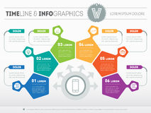 Part of the report with logo and icons set. Vector infographic o Stock Image