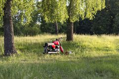 Part of a restored vintage motorcycle against a grass background stock image