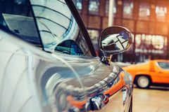 Part retro car close-up. Royalty Free Stock Photo