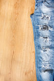 Part of ripped jeans Stock Photos