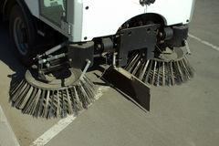 Part of road cleaning machine closeup Royalty Free Stock Photos