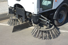 Part of road cleaning machine closeup Royalty Free Stock Photography