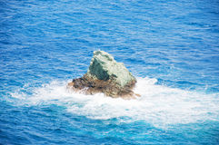 Part of the rock. In the middle of the Aegean Sea Stock Images
