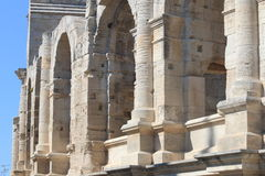 Part of Roman amphitheatre of Arles in France Royalty Free Stock Image