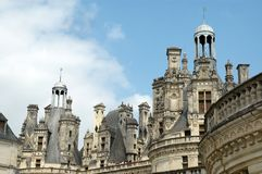Detail of chambord castle. Part of the roof line or chambord castle in France Royalty Free Stock Images