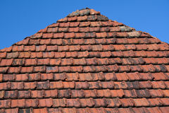 Part of the roof with old red tiles Royalty Free Stock Images