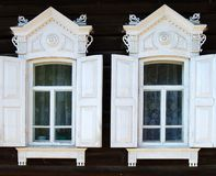 Part of rural house. Two windows. Royalty Free Stock Images