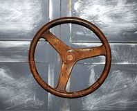 Part of the rusty ship. Part of the door of abandoned rusty ship Stock Image