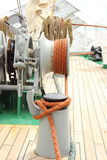Part of sail yacht with thick ropes Royalty Free Stock Photography