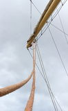 Part of sail yacht with thick ropes Royalty Free Stock Photos