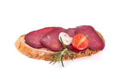 Part of sandwich with ham Stock Image