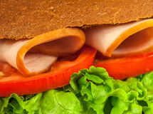 Part of sandwich with lettuce, tomatoes, ham. Closeup. Background royalty free stock photography