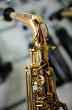 Part of a saxophone close up Royalty Free Stock Image