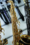 Part of a saxophone close up Royalty Free Stock Images