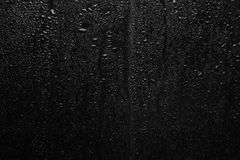 Part of series. Background photo of rain drops on dark glass, different size: small medium and large Royalty Free Stock Images