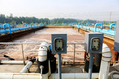 Part of the sewage treatment plant scene Royalty Free Stock Photos