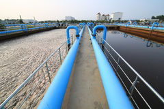 Part of the sewage treatment plant scene. Taken on 2014 stock photo