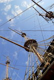 The part of the ship with the mast. Stock Image