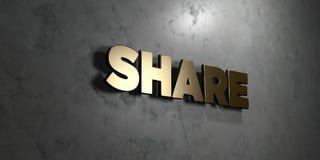 Part - signe d'or monté sur le mur de marbre brillant - illustration courante gratuite de redevance rendue par 3D Photos libres de droits