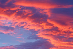 Red clouds. Part of sky with red clouds with sun positioned below and little piece of blue sky Stock Image