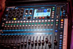 Part of sound amplifier, music mixer stock images