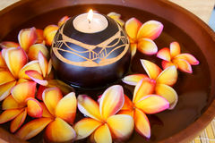 Part of spa. Frangipani flower and candle part of spa Royalty Free Stock Image