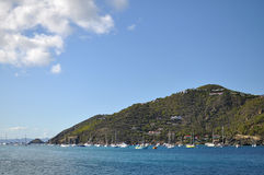 Part of St. Barts island with boats Stock Photos