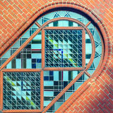 Part of stained glass arched window Stock Photography