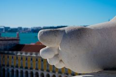 Part of the Statue of Glory rewarding Valor and Genius. Lisbon. Portugal. January 28, 2018.  Part of the Statue of Glory rewarding Valor and Genius. Rua Augusta Stock Image