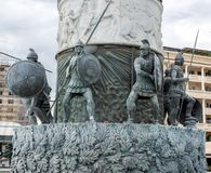 Part of statue Warrior on a Horse, which stands on a massive pedestal which is also a fountain. Macedonia, Skopje stock photo