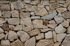 Part of a stone wall. Gray and brown stone wall texture background Stock Photography