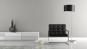 Part of  stylish interior with black armchair 3D rendering Royalty Free Stock Photos