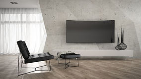 Part of stylish interior with black armchair 3D rendering Royalty Free Stock Image