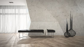 Part of stylish interior with black bench 3D rendering Royalty Free Stock Photo