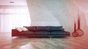 Part of stylish interior with black sofa 3D rendering Royalty Free Stock Photo