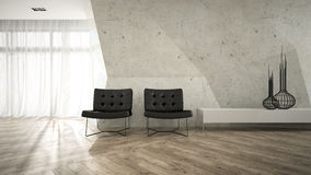 Part of stylish interior with two armchair 3D rendering Royalty Free Stock Photos