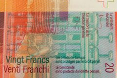 Part of an 20 Swiss Franc bill royalty free stock photography