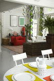 A part of table. And living room in perspective royalty free stock photos