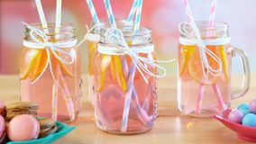 Free Part Table With Pink Lemonade In Mason Jars Closeup. Royalty Free Stock Image - 123691596