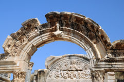 Part of Temple of Hadrian. Part of the Temple of Hadrian in ancient Ephesus in Turkey Royalty Free Stock Photography