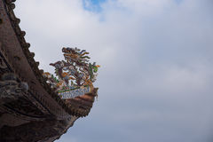 Part of temple roof traditional, Chinese temple. royalty free stock photography
