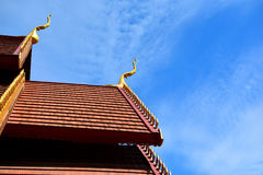 Part of Thai temple roof with blue sky Stock Image